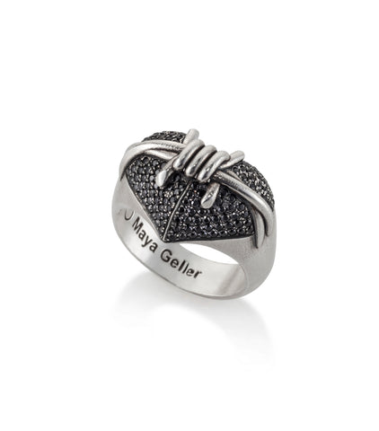 Silver Heart Barbed wire ring
