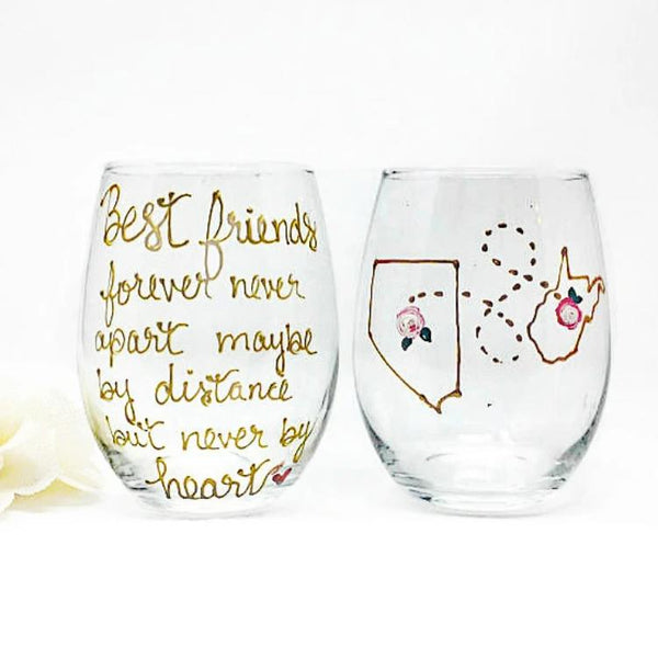 Hand Painted Best friend wine glass