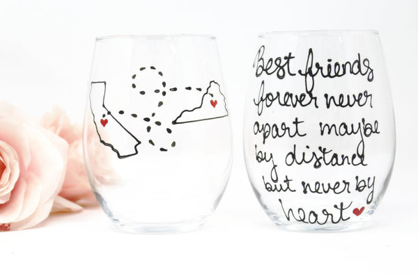 Personalized Long Distance Best Friend Gift, Hand Painted Wine Glass