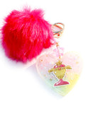 Pastel Kawaii Sailor Moon Trophy Heart Key charm With Faux Red Pom Pom - Feelin Peachy