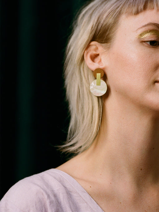 Celeste Earrings in Mother of Pearl