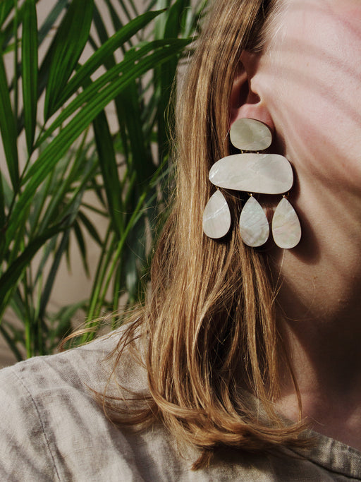 Cloud Earrings in Mother of Pearl