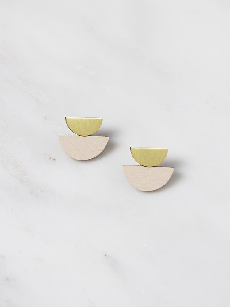 Ecru Double Crescent Studs by Wolf & Moon