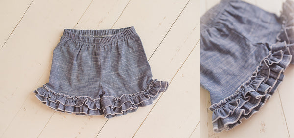 *NEW* Chambray Ruffle Shorties