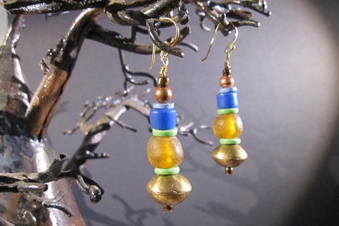 Trade Beads, Recycled Glass, + Brass