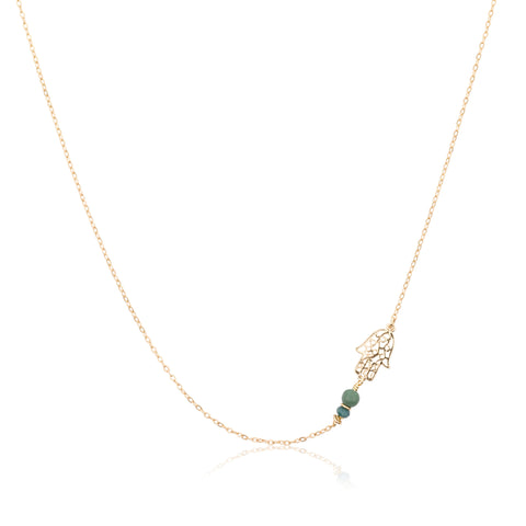 Necklaces - Helen Chain & Small Decorated Chamsa With 2 Turquoises