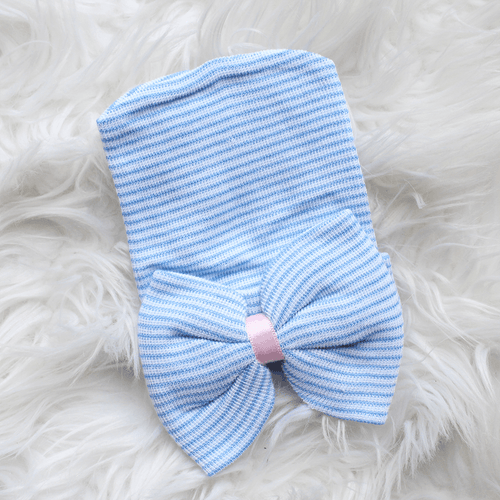 Newborn Hospital Hat - Blue Stripe with Bow - Project Nursery