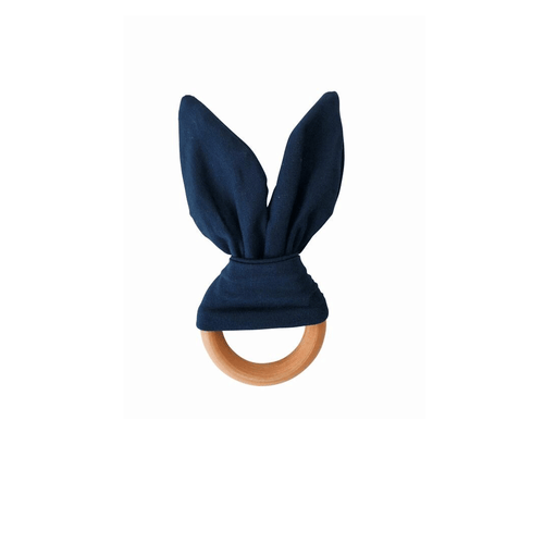Crinkle Bunny Ears Teether - Navy - Project Nursery