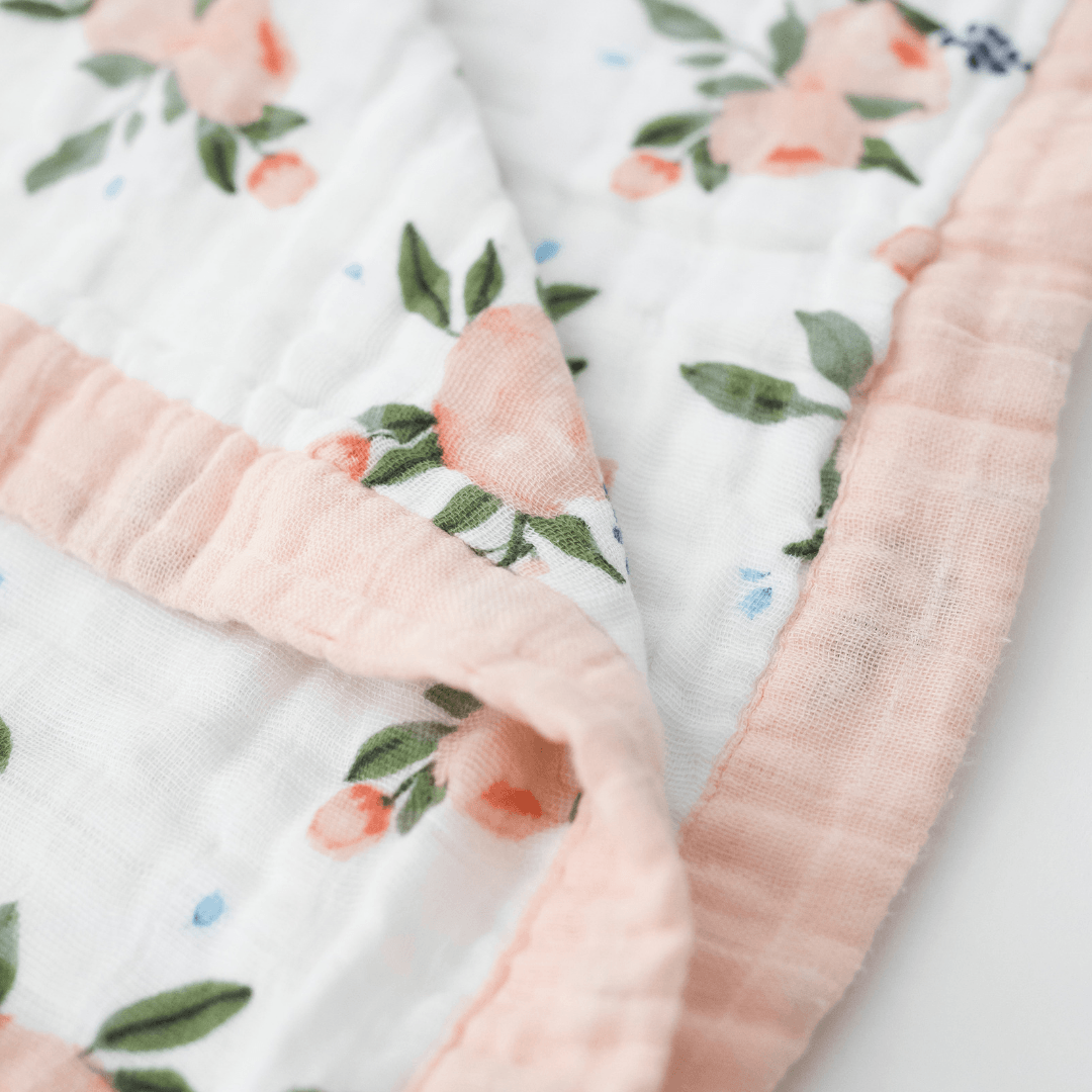 Watercolor Roses Big Kid Cotton Muslin Quilt - Project Nursery