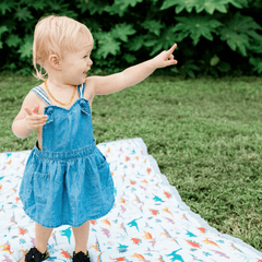 Embroidosaurus Big Kid Cotton Muslin Quilt - Project Nursery