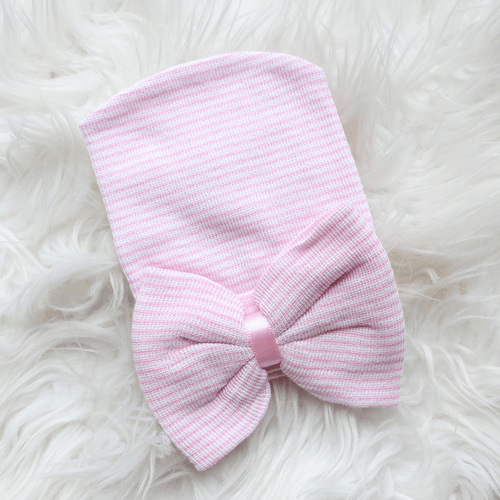 Newborn Hospital Hat - Pink Stripe with Bow - Project Nursery