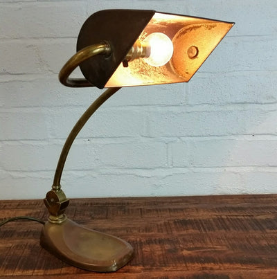 Brass Banker's Desk Lamp