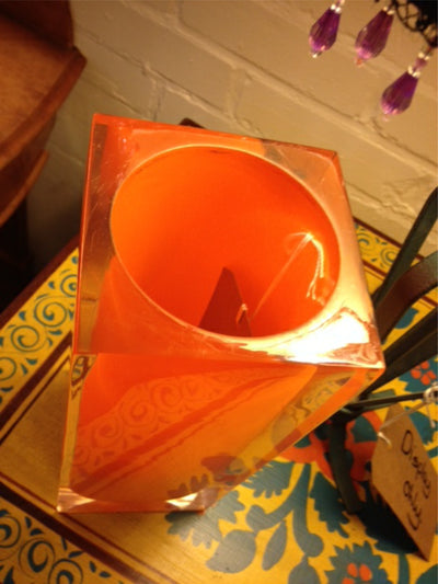 1970s square Perspex vase in orange