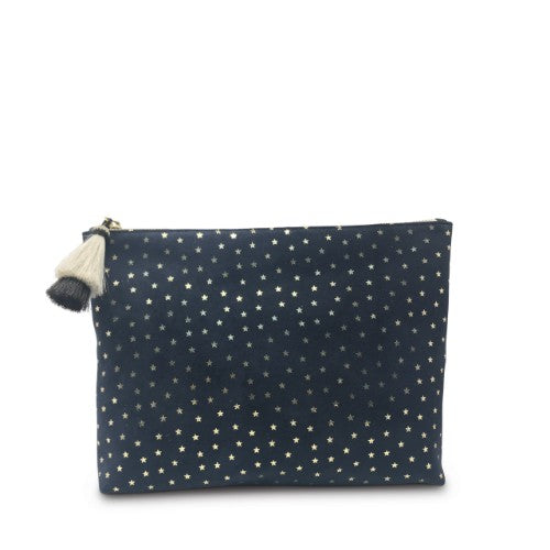 NAVY SUEDE GOLD FOIL STARS SMALL POUCH