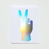 PEACE HAND HOLOGRAM CARD - katie diamond jewelry