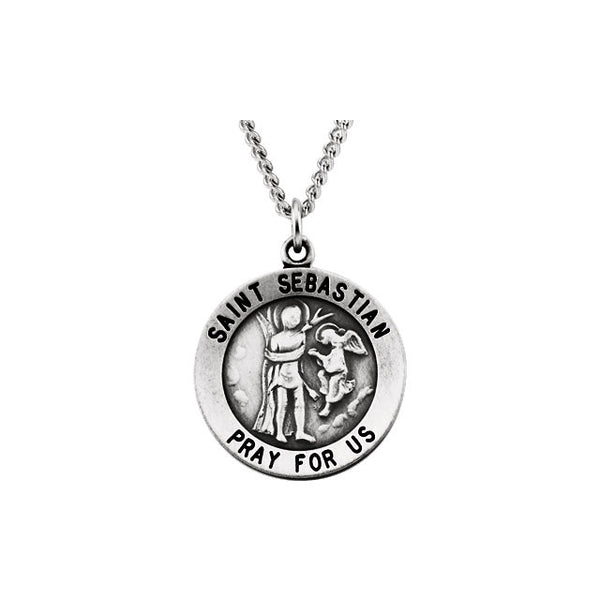 Round St. Sebastian Medal Necklace in Sterling Silver