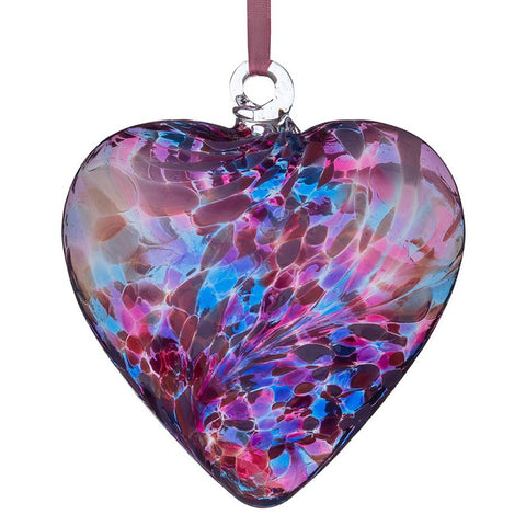 12cm Friendship Heart - Blue & Pink-Sienna Glass