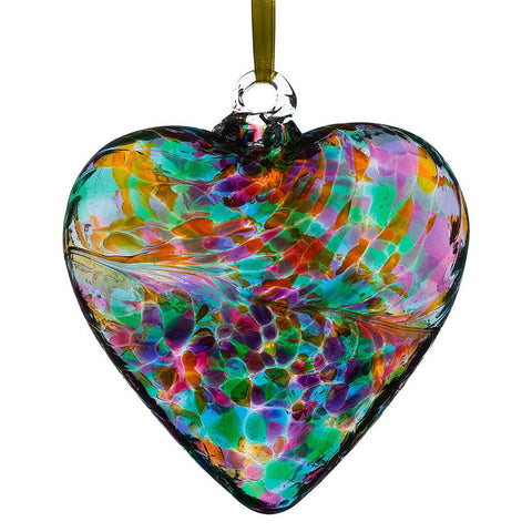 12cm Friendship Heart - Multicoloured Turquoise-Sienna Glass