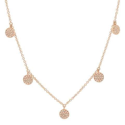14K Gold and Diamond Disc Charm Necklace