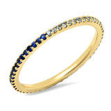 14K Yellow Gold Blue Sapphire Ombre Eternity Band
