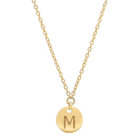 Gold Disc Initial Charm Necklace