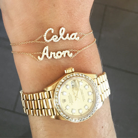 14k Yellow Gold Diamond Name Bracelet