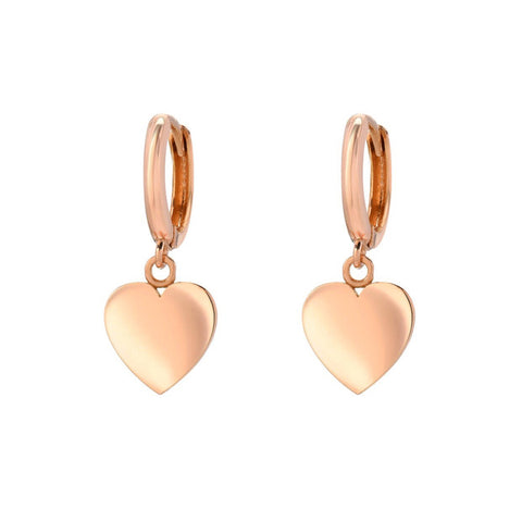 14K Rose Gold 10mm Huggies with Heart Charm