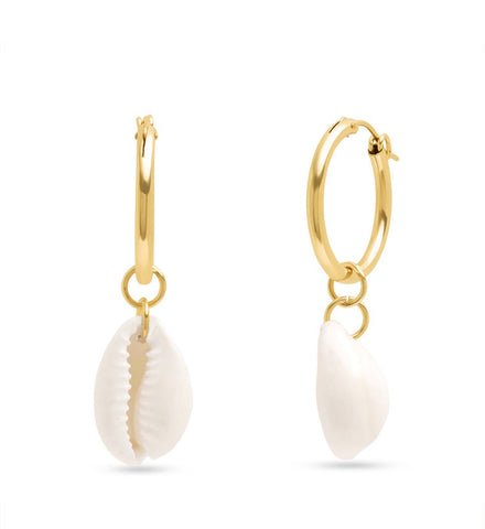 14K Cowrie Shell Charms on Hoops