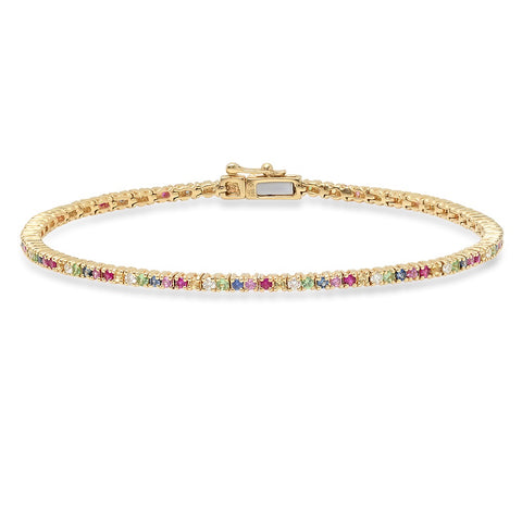 14K Gold Rainbow Tennis Bracelet