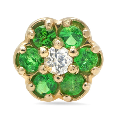 14K Gold Emerald Flower Stud