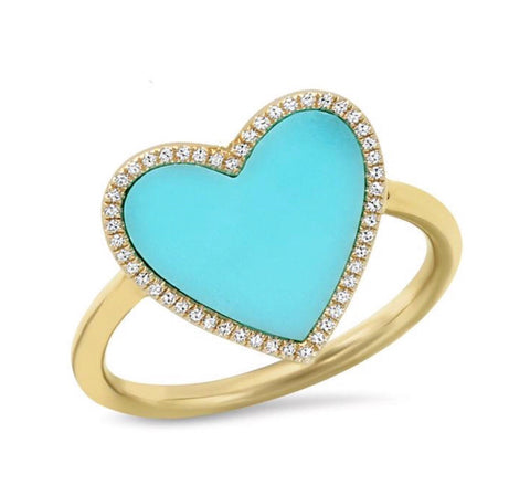 14K Gold Turquoise Diamond Heart Ring (Choose from 3 Styles)