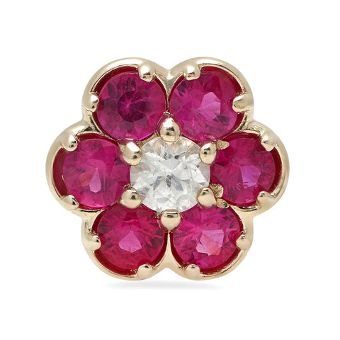 14K Gold Ruby Flower Stud