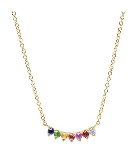 14K Gold 7 Rainbow Sapphire Necklace