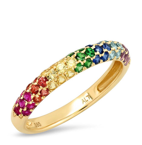14K Gold Rainbow Sapphire Dome Ring