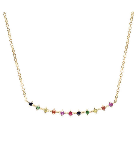 14K Gold 11 Rainbow Sapphire Bar Necklace