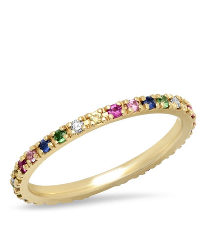 14K Gold Rainbow Eternity Band