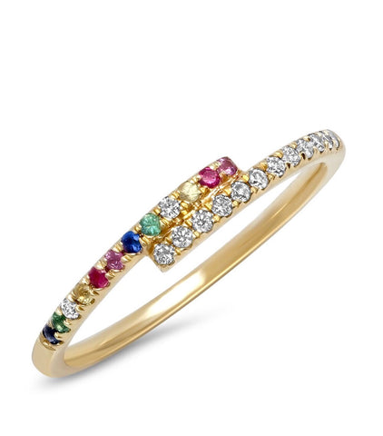 14K Gold Rainbow and Diamond Wrap Ring