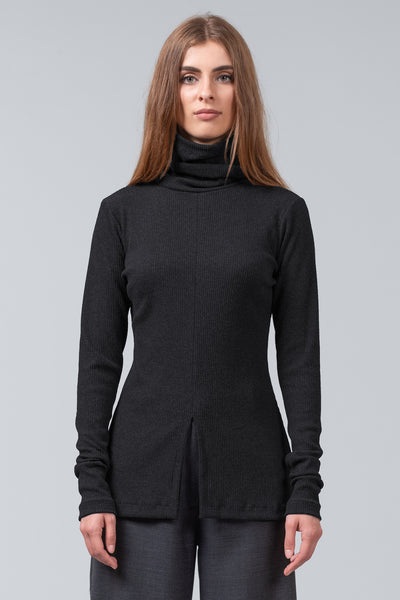 FUNNEL NECK T - black