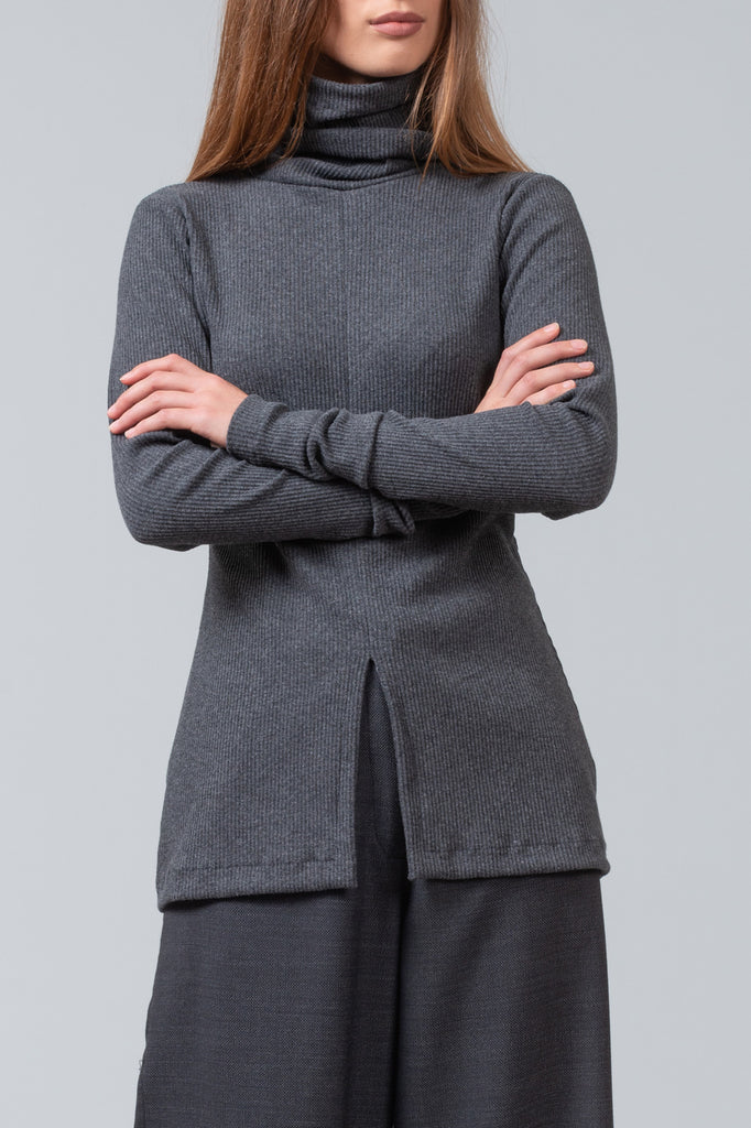FUNNEL NECK T - Charcoal