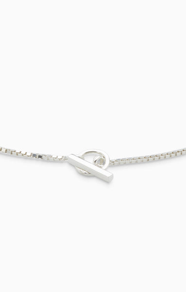 Box Chain Fob Necklace  | Silver