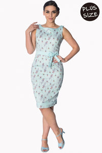Banned Apparel - Light Blue Peacock Wiggle Dress Plus Size - Egg n Chips London
