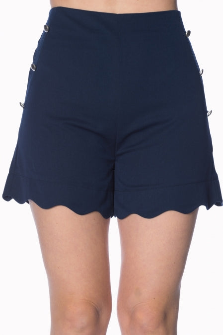 Banned Apparel - Sally Scalloped Navy Short