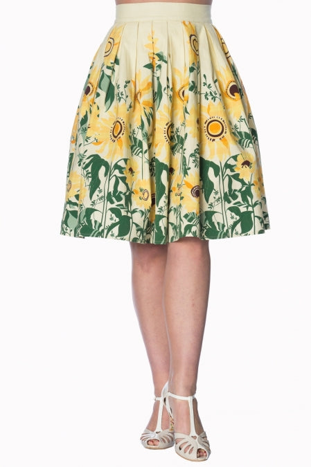 Banned Apparel - Sunflower Retro Custard Skirt