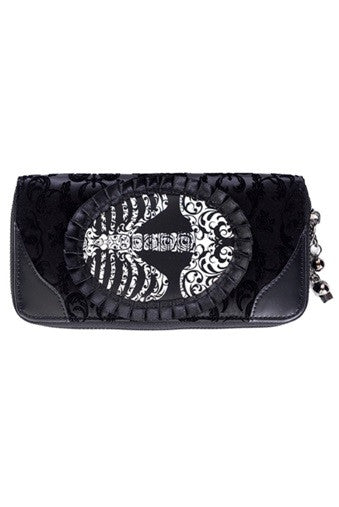 Banned Apparel - Ivy Black Ribcage Lace Wallet - Egg n Chips London
