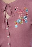 Banned Clothing - Dusty Pink Flamingo Cardigan - Egg n Chips London