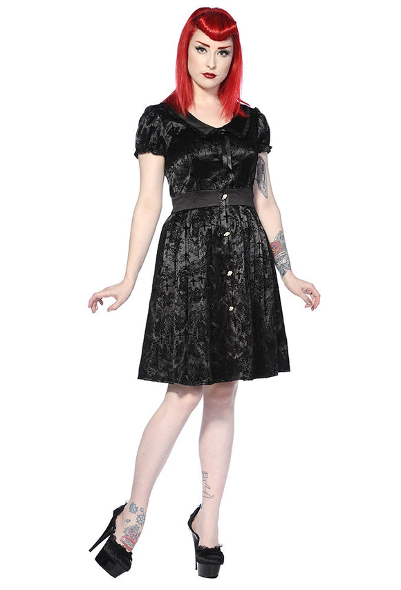 Banned Clothing - Black Ivy Cross Gothic Dress - Egg n Chips London