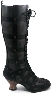 Hades Shoes - Dome Black Steampunk Boots - Egg n Chips London