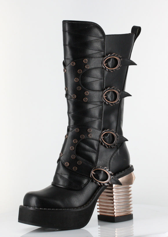 Hades Shoes - Black Harajuku Steampunk Boots - Egg n Chips London