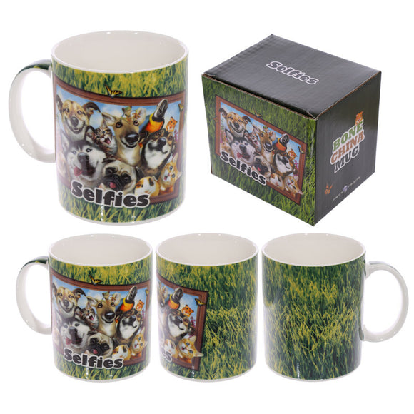 Egg n Chips London - Fun Animal Selfie Howard Robinson New Bone China Mug - Pets - Egg n Chips London