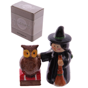 Egg n Chips London - Ceramic Magical Witch and Owl Salt and Pepper Set - Egg n Chips London